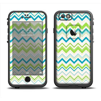 The Green & Blue Leveled Chevron Pattern Apple iPhone 6 LifeProof Fre Case Skin Set