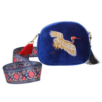 Chinese Style Ethnic Women Messenger Bags Pleuche Embroidery Crane Shoulder Bag Fashion Ribbon Crossbody Bag Small Package Bolsa