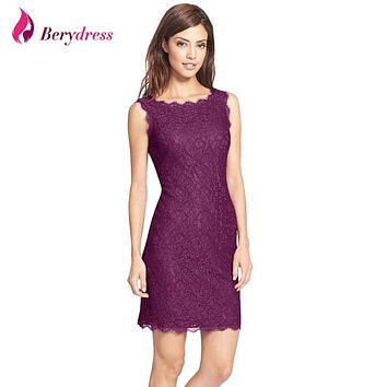 New Bodycon Cocktail Party Elegant Women Sleeveless Full Zip Back Floral Lace Dress Short Burgundy Women Dresses Hot Selling