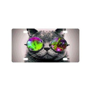 "Fashion Cute Cat Wear Sunglasses Art Car Accessories Metal License Plate Frame (New) 12"" X 6"""