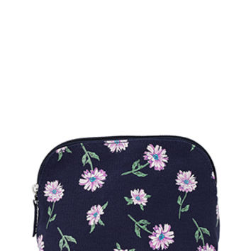 FOREVER 21 Floral Print Cosmetic Pouch Navy/Pink One