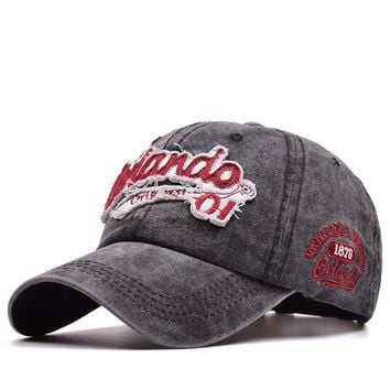 Washed Cotton Baseball Cap  Vintage Embroidery Outdoor Hat
