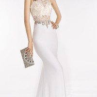 Alyce High Neck Lace Beaded Top Long Dress