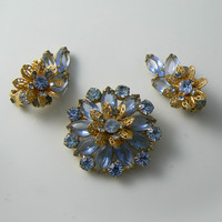 Baby Blue Rhinestone Brooch With Matching Clip Earrings