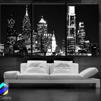 "LARGE 30""x 60"" 3 Panels Art Canvas Print Beautiful Philadelphia skyline light buildings Wall Home (Included framed 1.5"" depth)"