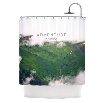"Ann Barnes ""Adventure is Waiting"" Mountain Shower Curtain"