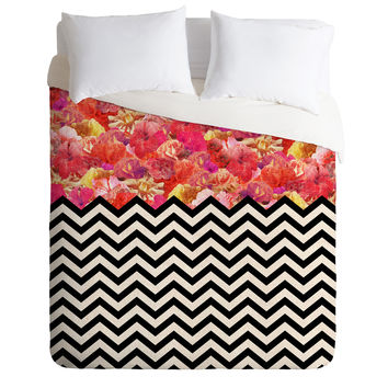 Bianca Green Chevron Flora 1 Duvet Cover