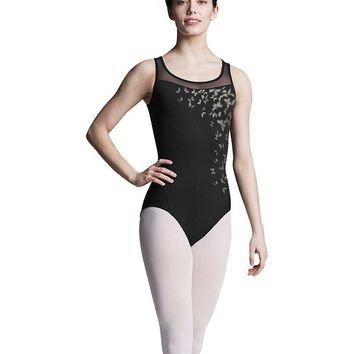 TWL8155 Printed Bodice Mesh Cross Over Open Back Tank Leotard Girls by Bloch