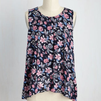 Wrap Artist Floral Top in Navy | Mod Retro Vintage Short Sleeve Shirts | ModCloth.com