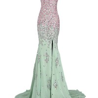 Tidetell 2015 Luxury Bridesmaid Colorful Sequin Long Split Prom Evening Dress