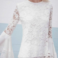 Alexis 'Alexo Long Sleeve White Lace' Top | Shop Splash