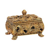 Textured Leaf Keepsake Storage Box Gold Leaf