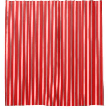 Red w/White Stripes Shower Curtain