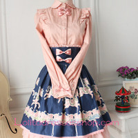 Pink Cotton Lapel Long Sleeve Bowknot Lolita Blouse