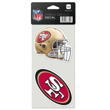 "SAN FRANCISCO 49ERS 4""X4"" DIE CUT DECAL 2-PACK CAR HOME BRAND NEW WINCRAFT"