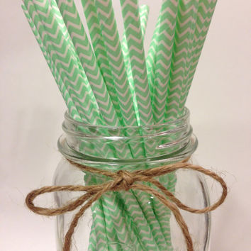 25 Cool Mint chevron paper straws-//baby bridal shower decorations // candy dessert buffet table // wedding // First birthday/new year party