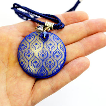 Dark blue elegant necklace, blue polymer clay necklace with gold pattern