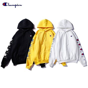 Champion Fashion Letter Hooded Long Sleeve Sweater