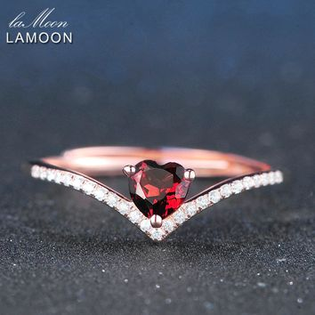 LAMOON 4mm 0.3ct 100% Natural Heart cut Red Garnet Ring 925 Sterling Silver Jewelry  Romantic Wedding Band