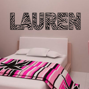 "Personalized Zebra Stripe Name Vinyl Wall Decal Sticker 32"" X 8"""