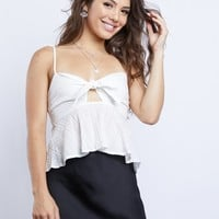 Parisian Dreams Tie Front Crop Top