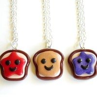Handmade Peanut Butter, Strawberry Jelly & Grape Jelly Three-Way Best Friend Necklaces - Whimsical & Unique Gift Ideas for the Coolest Gift Givers
