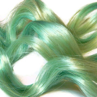 Mint Pastel Human Hair Extensions, Clip in Hair Extensions, Pastel Color Turquoise Teal