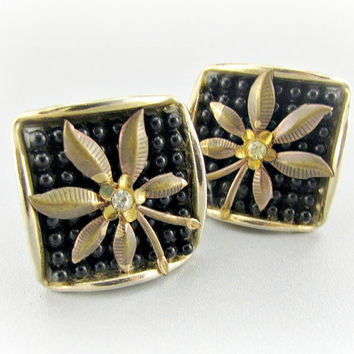 Vintage Beaded Earrings, Black Glass Bead Earrings, Gold Flower Earrings, Clip-on Earrings, 1950s 1960s Mad Men Costume Jewelry