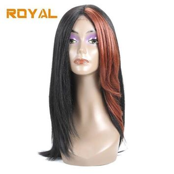 CREYG8W Royal Brazilian Non-Remy Human Hair Wigs Long Hair Whole Machine Wig For Black Women #33 Color 14Inches