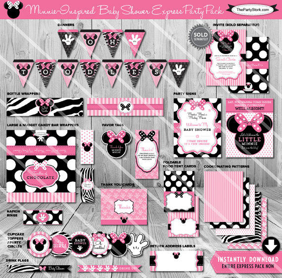Sale minnie mouse baby shower printable from for Baby minnie mouse party decoration ideas