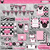 SALE - Minnie Mouse Baby Shower Printable Party Package | Baby Girl Shower Decorations | Instant Download Kit  | Invitations Games Available