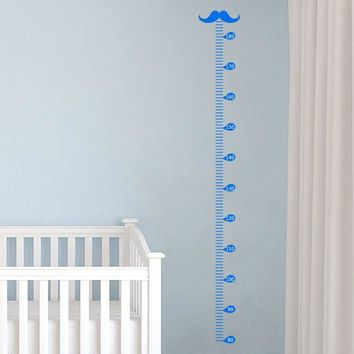 Creative Height Chart Vinyl Wall Sticker Funny Moustache Growth Chart Decal Nursery Kids Room Decor