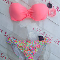 New Sexy Victoria's Secret Madi Push Up Bandeau Bikini Set Confetti