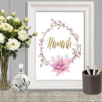 Namaste Print Oriental print Namaste decor Floral wall art Lotus flower Watercolor Namaste art Wreath Gold Pink purple Yoga studio decor