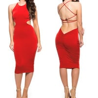 Red Sleeveless Cross Back Ruched Bodycon Midi Dress
