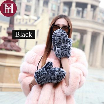 Fashion girl winter Real Rex Rabbit Fur glove Knitted Gloves String warm soft natural fur Mittens 2017 new brand high quality