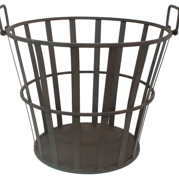 "16"" Metal Basket, Black, Decorative Bins, Baskets & Crates"