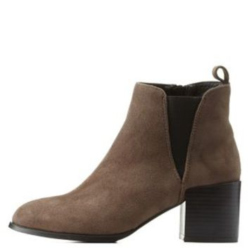Charcoal Pointed Toe Chunky Heel Chelsea Boots by Charlotte Russe