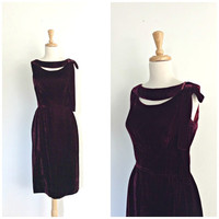 Vintage 50s Party Dress - wiggle dress - Bramson - burgundy - cocktail dress - velvet - pin up - S M