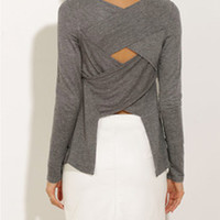 Gray Backless Long Sleeve Shirt