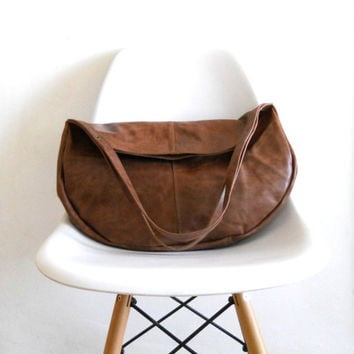Brown Oversize leather bag -  hobo bag - Every day bag - Women shoulder Bag - soft brown leather