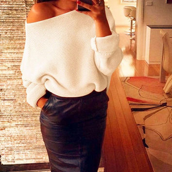 Fashion Off Shoulder Women Sweaters   Batwing Sleeve Loose Oversize Knitted Pullovers Women pull femme Jumpers Tops SM6