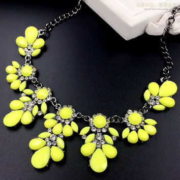 Moon Yellow Flower Crystal Drop Collar Choker Necklace