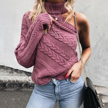 Turtleneck Cable Knit One Sleeve Bear Shoulder Women Pullover Sweater Cable Knit One Sleeve Bear Shoulder Women Pullover Sweater