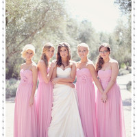 Charming Sweetheart Strapless Pleated Handmade Flower Long Floor Length Cheap Evening Prom Pink Bridesmaid Dresses