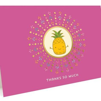 Pineapple Foil Stamped Thank You Cards