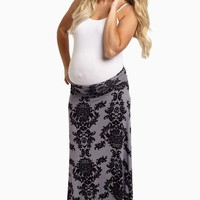 Charcoal Black Damask Maternity Maxi Skirt
