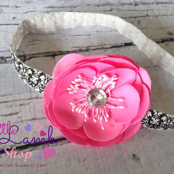 Damask Holiday Dark Pink Baby Headband, Flower Girl Headbands, Infant Hair Band, Newborn headband, Baby Head Bands, Props, Canada