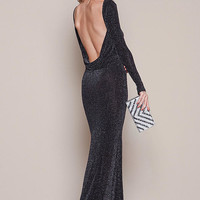 Silver Starry Mesh Backless Maxi Dress