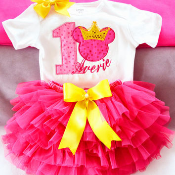 Custom baby girl/toddler first birthday pink mouse with yellow crown princess tutu outfit,Girls 1st birthday set,Girls pink minnie outfit